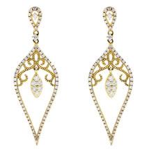Rachel Koen Yellow Gold Drop Party Dangle Diamond Earrings 0.73cts - $1,100.00
