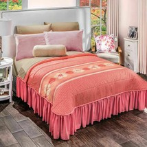 Coral Floral Guayaba Reversible Bedspread with Bedskirt Attached - £60.62 GBP+