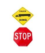 Stop Truck Xing Parking Traffic Road Wall Decor Novelty Aluminum Metal S... - $19.79