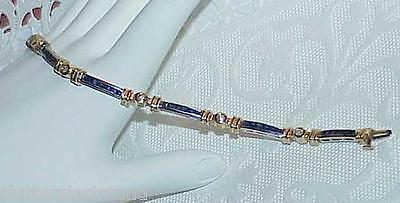 14K 1.50ct Blue Sapphire Princess Diamond Bracelet White Gold Vintage Gorgeous!