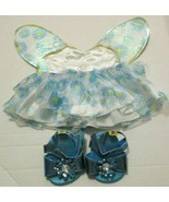 BUILD A BEAR TEAL FLOWER FAIRY DRESS WITH WINGS AND SANDALS SHOES 3 PC O... - $9.99