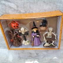 Witch Fairy Garden Kit, Miniature Halloween Village Set, Skeleton black cat owl image 3