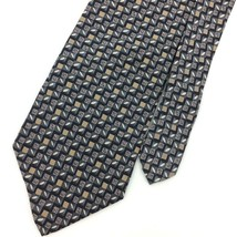 GEOFFREY BEENE Made In USA TIE CHECKERED Oval GRAY Tan Silk Necktie Ties I10-276 image 2