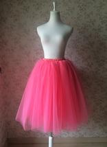 Melon Red Ballerina Tulle Skirt Knee Length Puffy Tulle Skirt High Waisted image 2