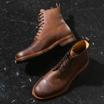 Handmade Antique Brown Pull up Leather Ankle Boots, Men Cap Toe Ankle Boot - $179.99