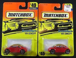 1997  Matchbox   Red VW Concept   Lot of Two Wheel Variations  Card #49 ... - $5.95