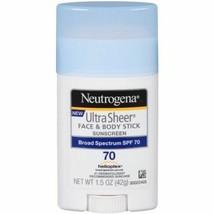 Neutrogena Sunscreen Ultra Sheer Face & Body Stick SPF 70 1.5oz UVA UVB - $7.42