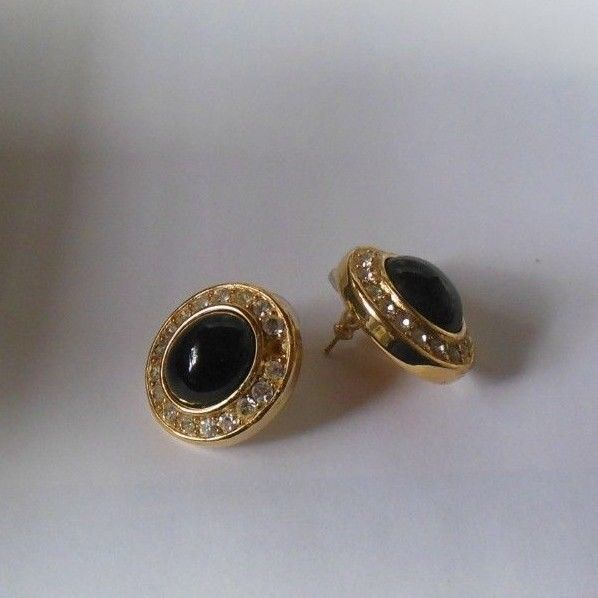 Vintage Givenchy Oval Black Cabochon & Rhinestone Pierced Earrings