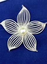 Vintage Sarah Coventry Moon Flower Star Brooch Pin w/faux pearl center 1967 - $12.57