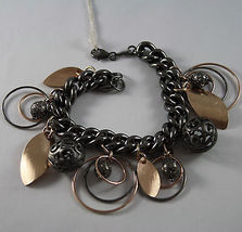 925 STERLING SILVER BURNISHED AND ROSE GOLD PLATED BRACELET CIRCLES & SPHERES image 4