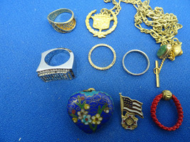 Ring Lot Of Vintage Rings Pendants Pins And Chains For Restoration Or Art Parts - $91.92