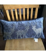 MAGASCHONI HOME Holiday Pillow & Cover Reindeer Gold Rhinestone Gray Vel... - $44.55