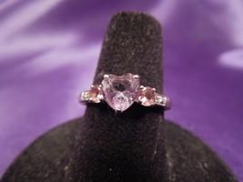 Amethyst, Pink Tourmaline & Diamond 10K White Gold Heart Shaped Ring, Sz 7 - $148.50