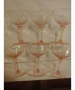 Vintage Pink Depression Glass Wine Goblets Panels Optic Ribbed Stemmed L... - $39.55