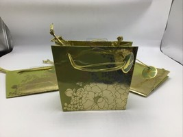 Gift Bag Lot 4 Floral Foil Gold Green All Occasion 6 x 5 Triple Handle NEW  - $14.50