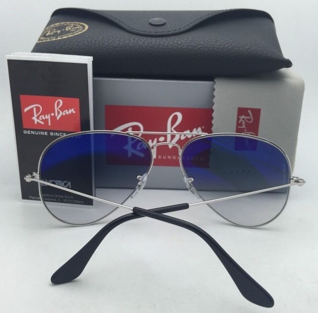Ray-Ban Sunglasses RB 3025 LARGE METAL 003/3F 55-14 Silver Aviator w/Blue+Mirror