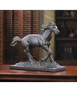 Spirited Running WILD STALLION Horse Statue Bronze Finish - $25.80