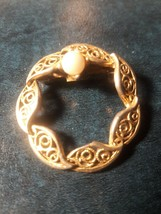 Vintage Wreathen Work faux Pearl  Brooch Pin Goldtone - $4.95