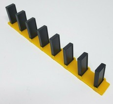 VINTAGE PRESSMAN DOMINO RALLY BLACK DOMINOES STRAIGHT YELLOW TRACK PIECE... - $7.34