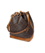 Auth LOUIS VUITTON Noe Monogram Canvas, Leather Drawstring Shoulder Bag LS1237 - $266.31