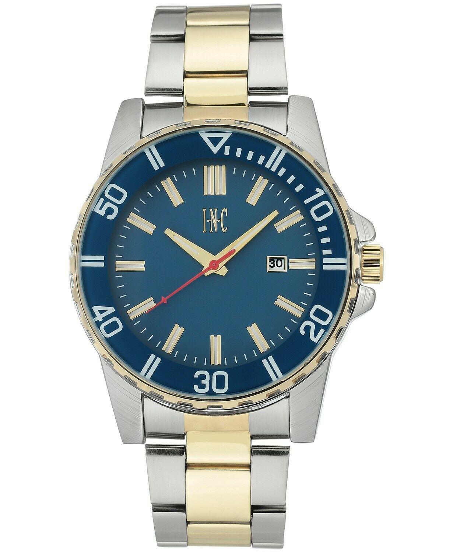 I.N.C. Men's 44mm Gold Silver Two-Tone Bracelet w Blue Dial Date Wrist Watch NIB