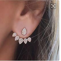 Korean Jewelry Crystal Front Back Double Sided Stud Earrings Women Fashion Ear J - $10.28
