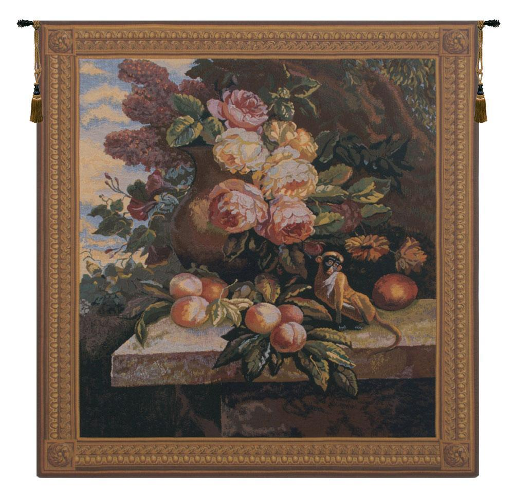 Monkey In Still Life II European Wall Hanging Tapestry