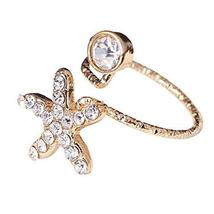Stylish Finger Nail Ring Nail Decoration Adjustable Joint Ring, Starfish,Golden