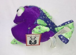 "RARE Peek A Boo Toys Green & Purple Tropical Fish 8"" Plush With Tags - $8.90"