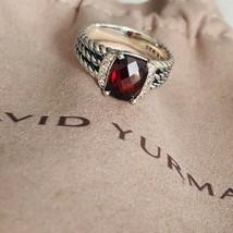 David Yurman Petite Wheaton Ring with Garnet & Diamonds 7mm Sz 8 Authentic - $270.75