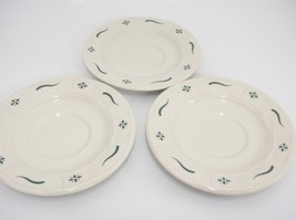 """Longaberger Green Woven Traditions Saucers 5.75"""" Lot of 3 Pottery USA - $11.87"""
