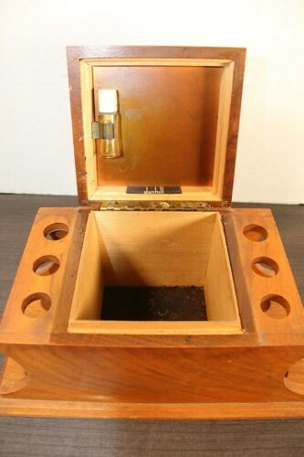 "Vintage Large 12"" Dunhill Wood Pipe & Cigar Holder Stand Rack Stash Box Tobacco"