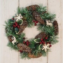 Pine & Berry Wreath w/Cutouts Winter floral Icy Branches Christmas Reindeer - $39.59