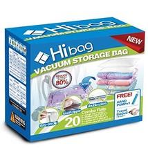 Hibag Premium Space Saver Bags, 20 Pack Vacuum Compression Bags 2Small, 6Medium,