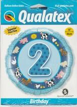 """2nd Birthday Farm Animal Friends  Mylar Foil Balloon by Qualatex 18"""" - $6.82"""