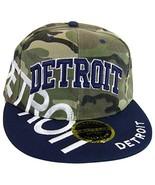 Detroit Large Script Men's Snapback Baseball Caps (Camouflage/Navy) - $12.95