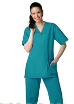 Teal Green VNeck Top Drawstring Pants SM Unisex Medical Uniforms 2 Pc Sc... - $35.25