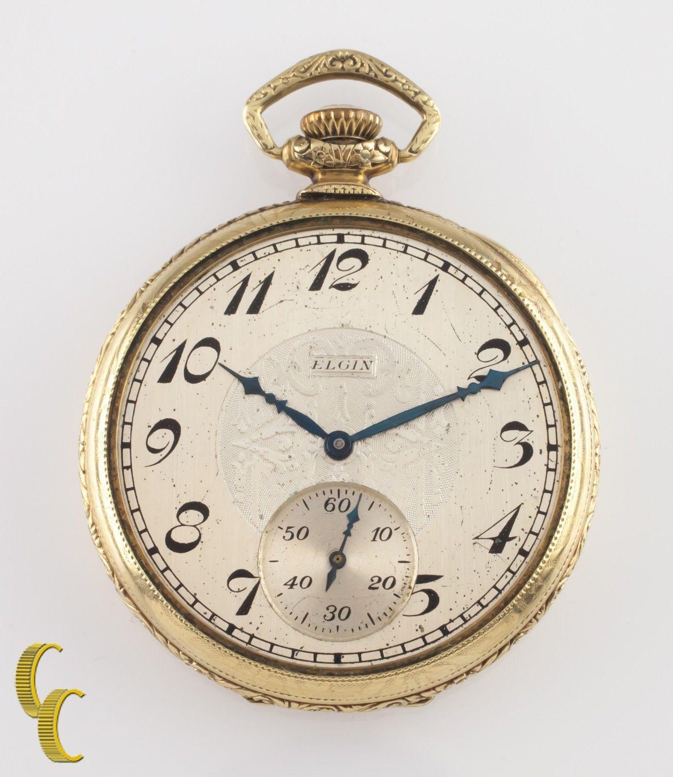 Elgin Antique Open Face Gold Filled Pocket Watch Gr 345 Size 12 17 Jewel - $519.75