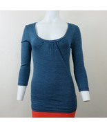 Michael Stars Blue Metallic Pullover Stretch Top 3/4 Sleeve Womens One S... - $29.65