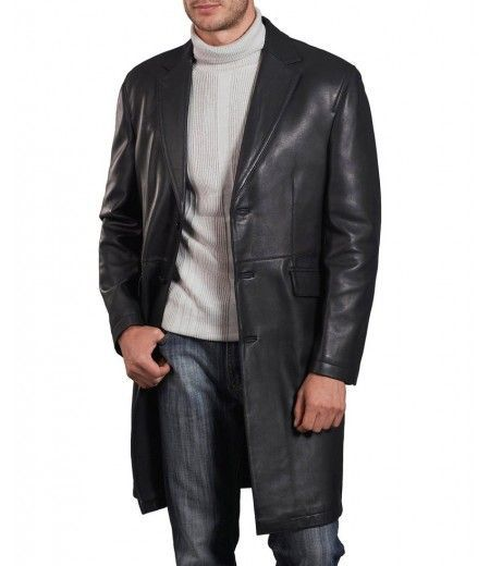 Formal Three Button Men Leather Coat Winter Genuine Real Leather Long Coat