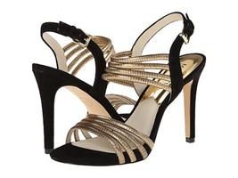 Michael Kors Cameron Sandal Heel Black/Pale Gold Strappy Metallic $145 Sz 9.5 - $74.99