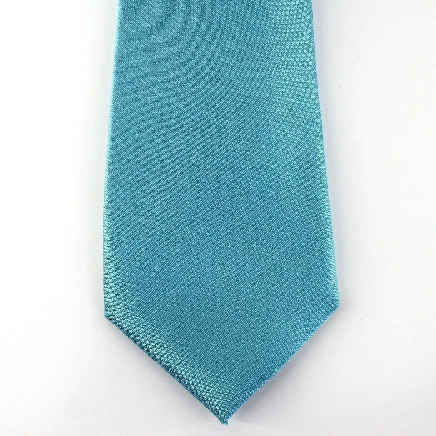 Alfani Neck Tie Aqua Blue Avenue Solid 100% Silk Slim Skinny Mens New