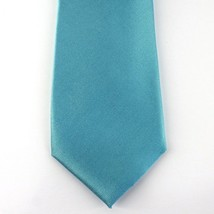 Alfani Neck Tie Aqua Blue Avenue Solid 100% Silk Slim Skinny Mens New - $14.99
