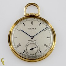 Gruen Open Face Veri-Thin 10k Gold Filled Pocket Watch 17 Jewels Size 8S - €870,74 EUR