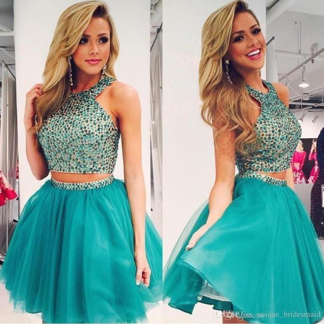 Dresses 2016 beading halter short prom dress tulle cheap homecoming graduation party.jpg 640x640