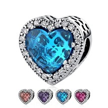 925 Sterling Silver Dazzling Radiant Heart Shape Charm Beads Fit Pandora  - $15.99