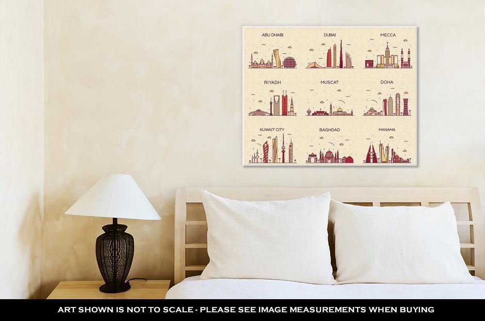 Gallery Wrapped Canvas, Dubai Arabian Peninsulskylines Line Art Style