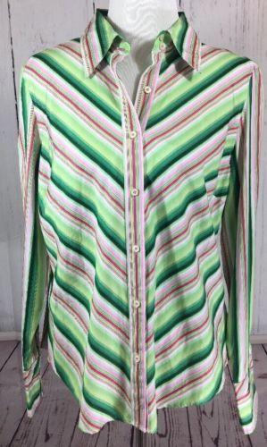 4ffcbb60e79d45 12. 12. Previous. Tommy Hilfiger Women's XL Serape Striped Cotton Button  Down Long Sleeve Shirt