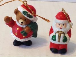 Bear Santa Miniature Ceramic Christmas Ornaments Lot Of 2 - $9.89