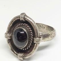 Sterling Silver Deep Garnet Ring Size 8.75 Vintage - $58.40